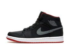 air jordan 1 mid night bg niño (034 negro rojo