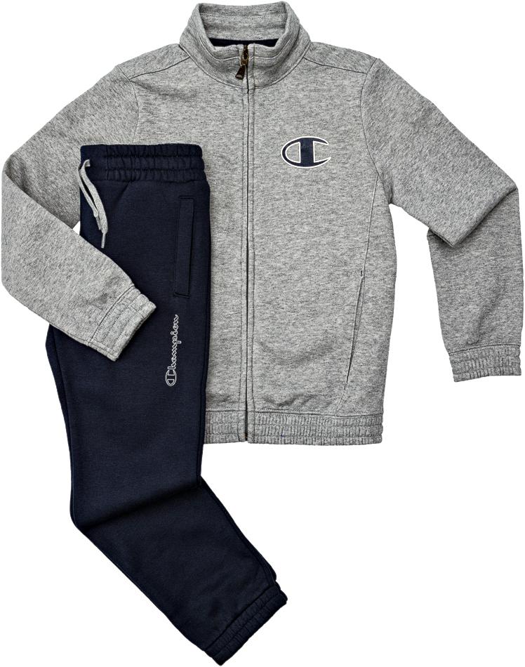 Champion Chándal Niño Athletic Basic Suit Logo FZ (gris marino) bc1d0e5efa6