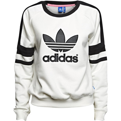 Adidas Original Sudadera Logo Crew Mujer (blanco negro) eb9e1301eeb