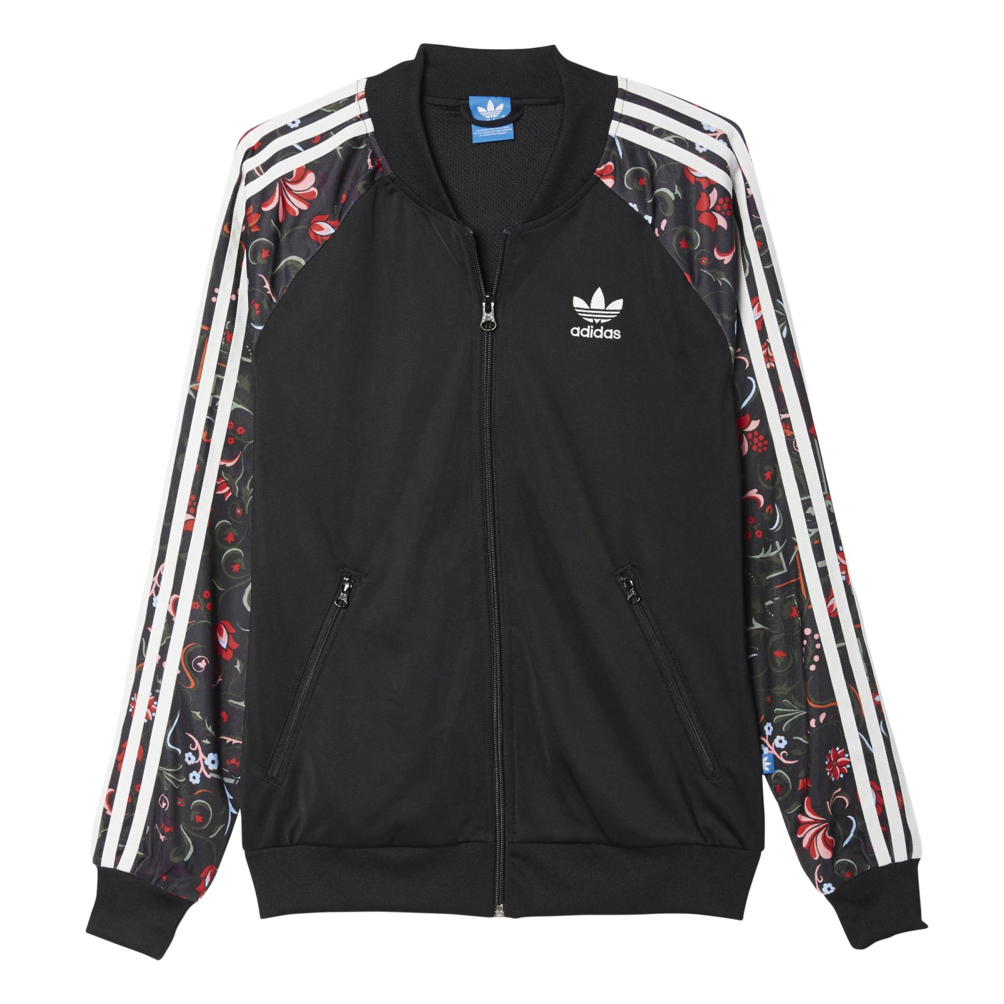 00d5860c3b4 Adidas Originals Mujer Chaqueta Superstar TT Printed Flower  (negro multicolor)