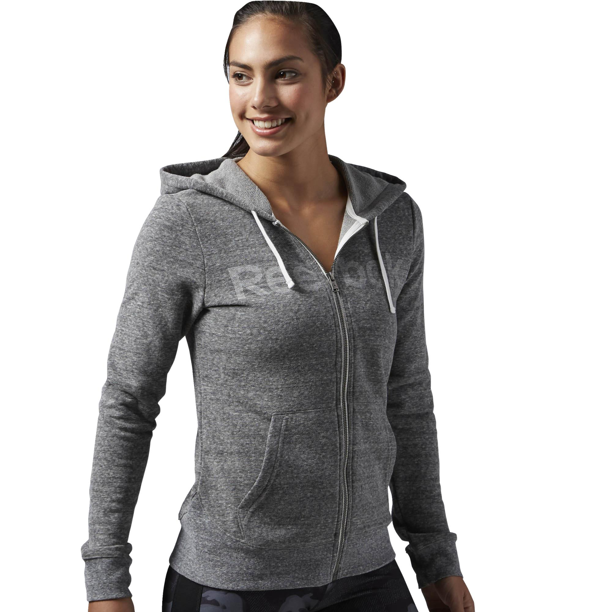 gran descuento 32e71 b76e4 Reebok Mujer Sudadera Elements Big Logo Fitness Full-ZIp (gris)