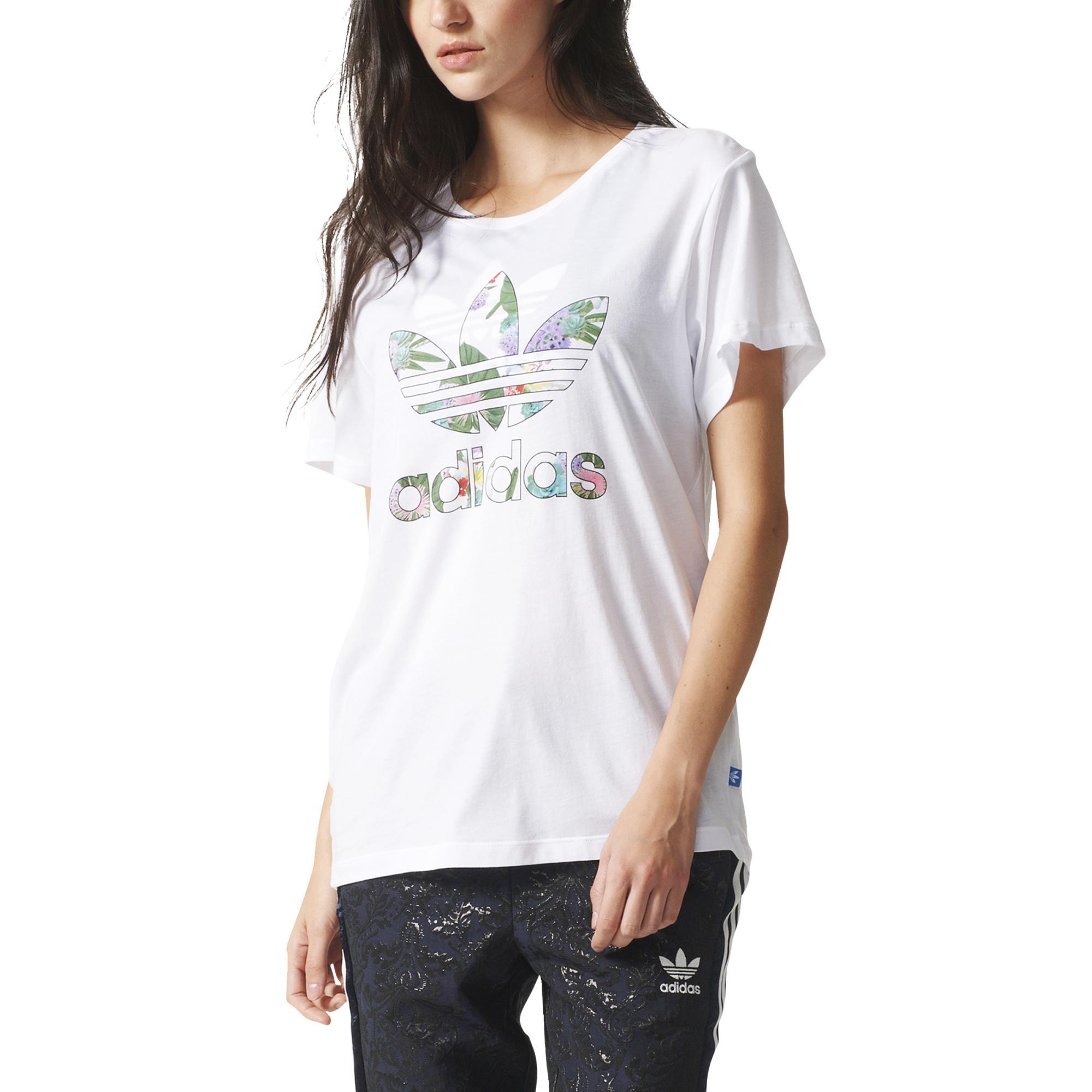 fddb0ac37 ... Adidas Originals Mujer Camiseta Boyfriend Trefoil Floral (blanco)