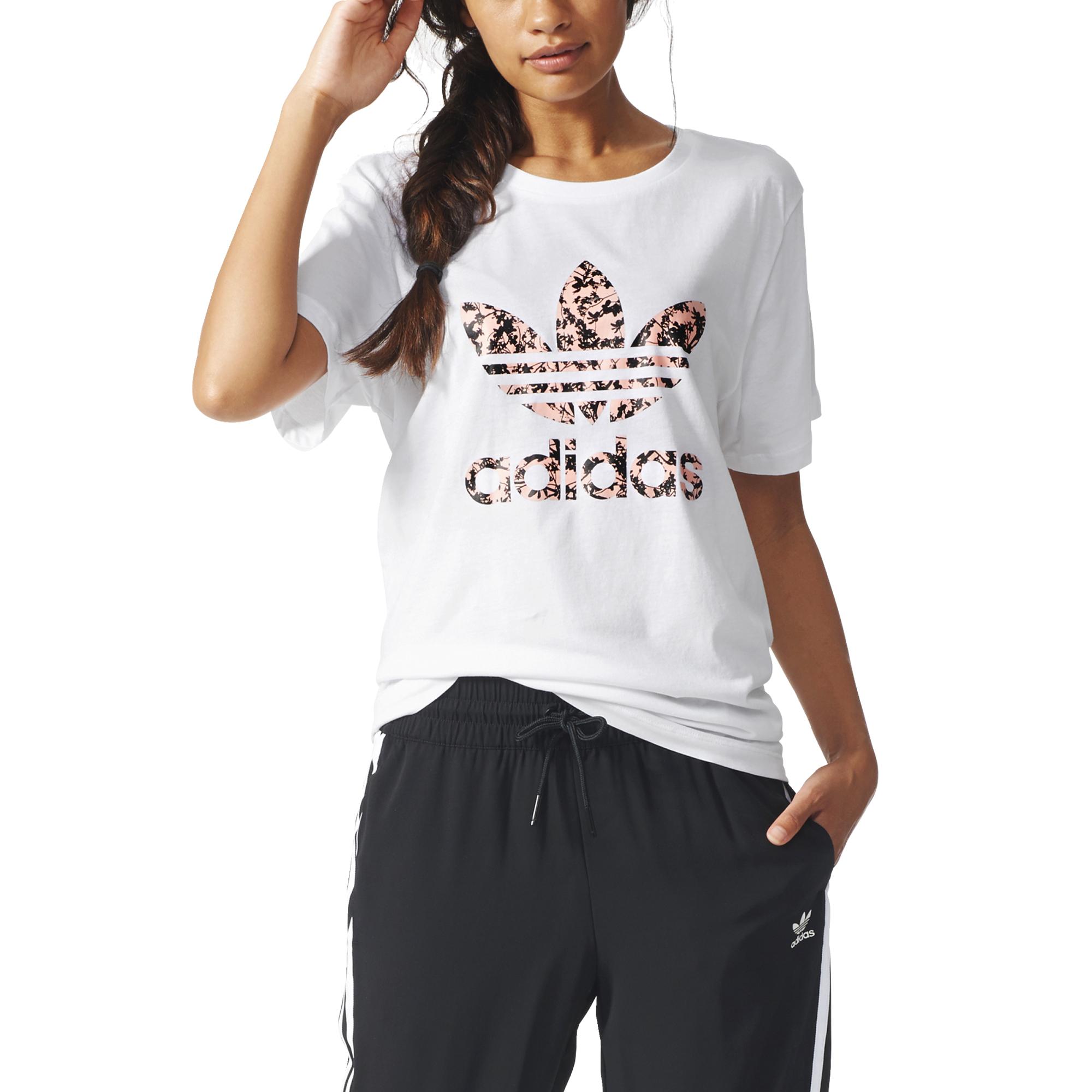 Adidas Originals Mujer Camiseta Boyfriend Trefoil Tropic (blanco
