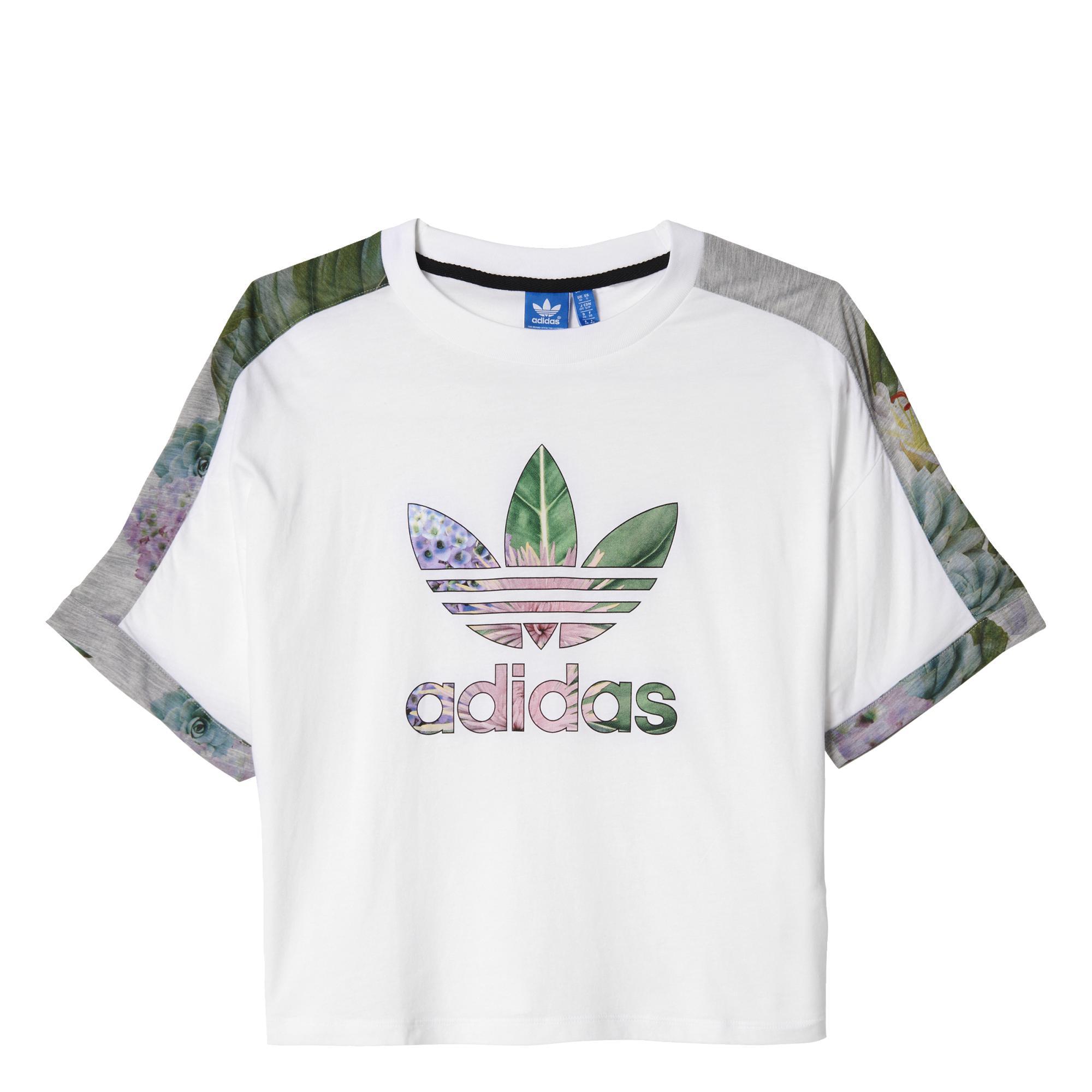 Adidas Originals Mujer Camiseta Train Cuff Trefoil Floral (blanc