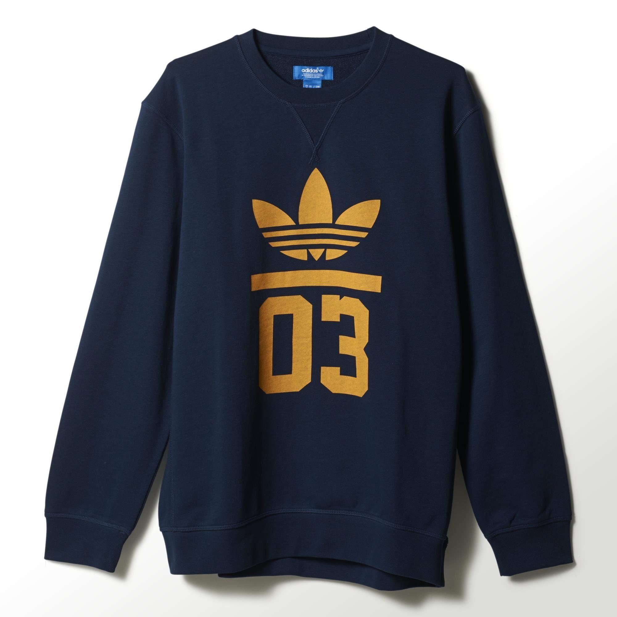Originals Sudadera Adidas Crew 3foil marinoamarillo Od65WwHq
