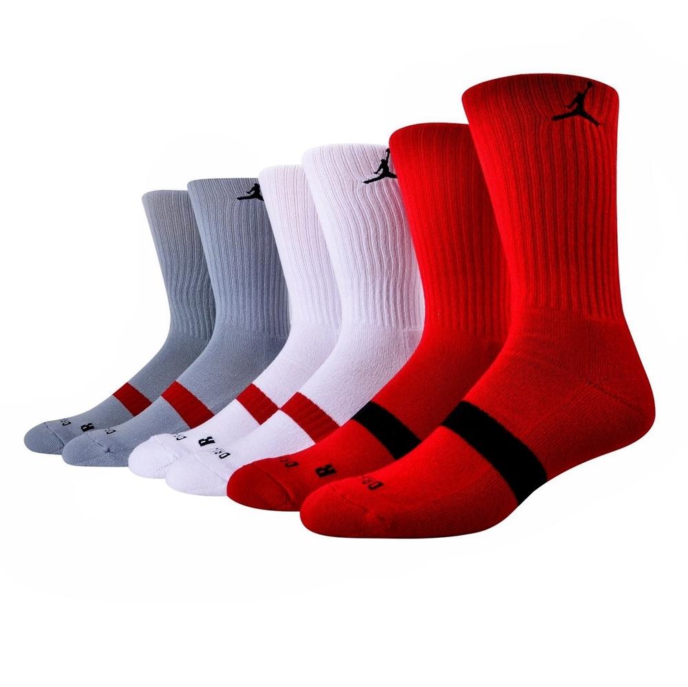 the best attitude 47c30 2cb1b Jordan Dri-FIT Crew Sock (687 gym red wolf grey white)